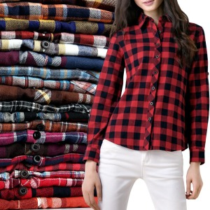 women's female long-sleeve plaid shirt