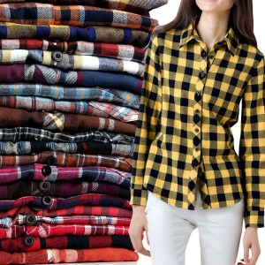 yellow fashion plaid women shirt